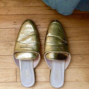 Gold Slip-On Mules